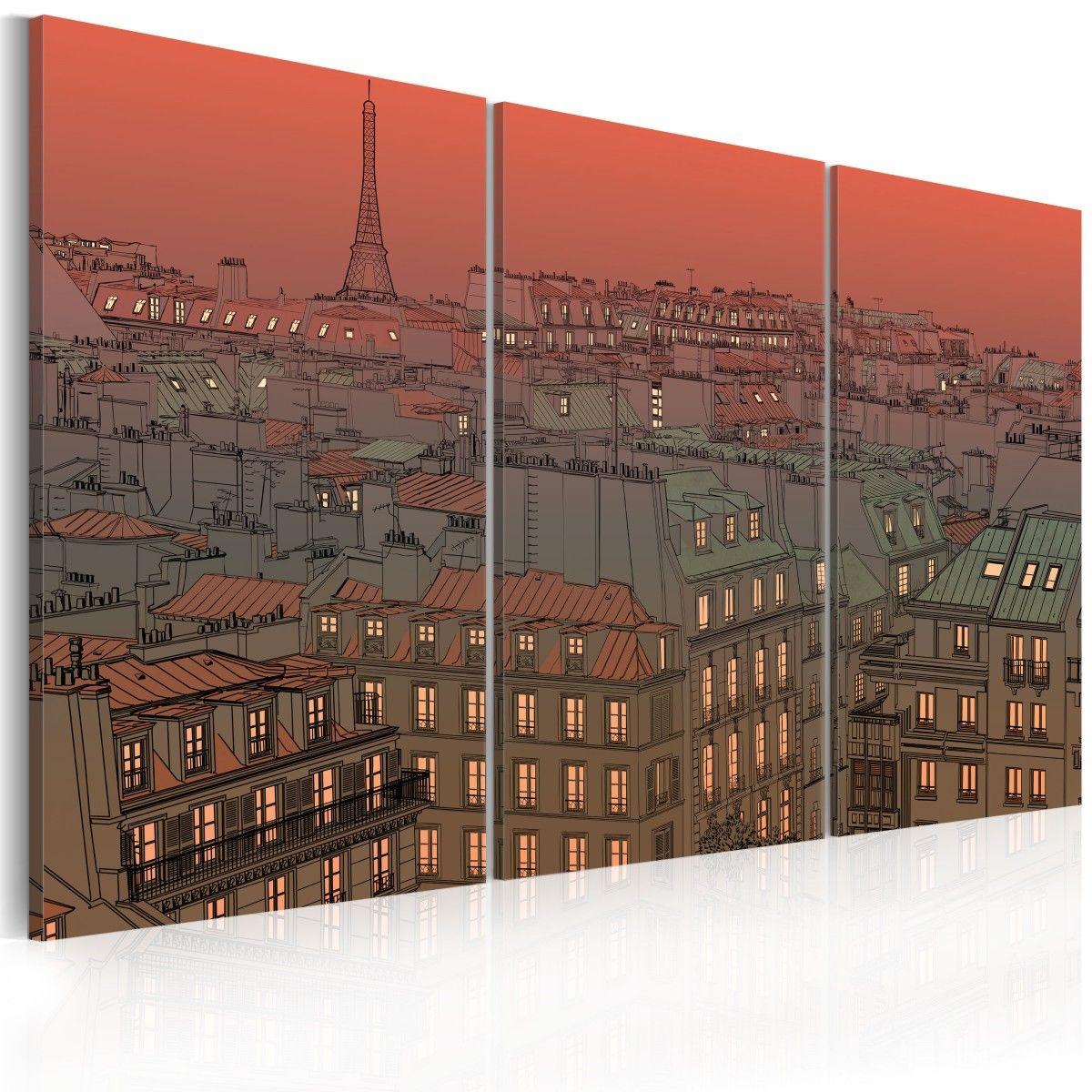 Obraz   Paryska Wie a Eiffla na tle zachodz cego s o ca