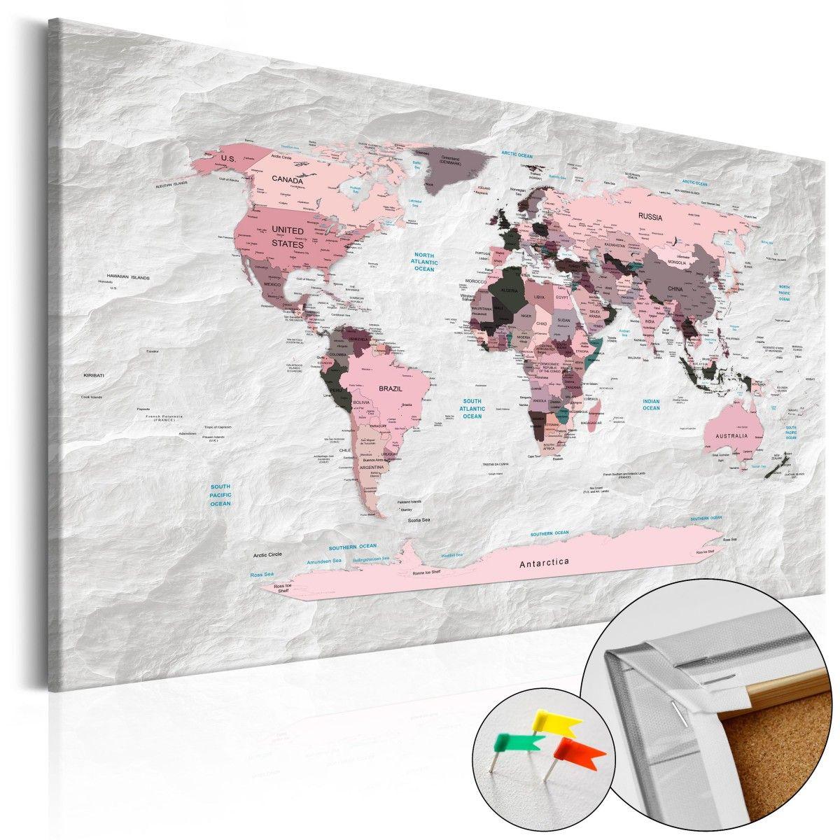 Obraz na korku   R owe kontynenty Mapa korkowa