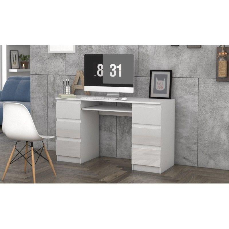 biurko komputerowe kuba biel polysk 6 szuflad6
