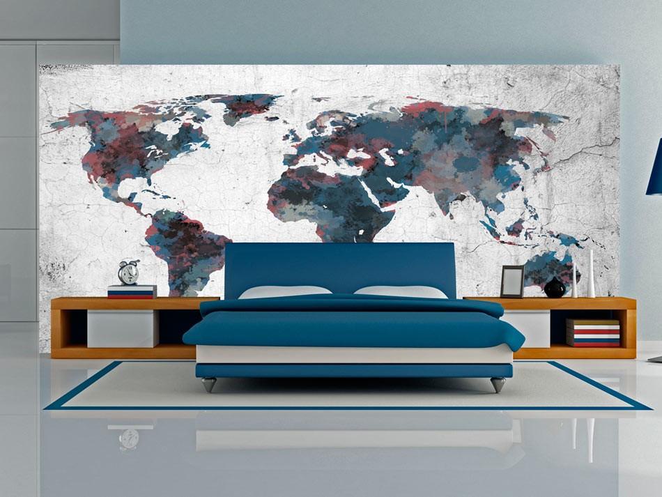 Fototapeta XXL - World map on the wall