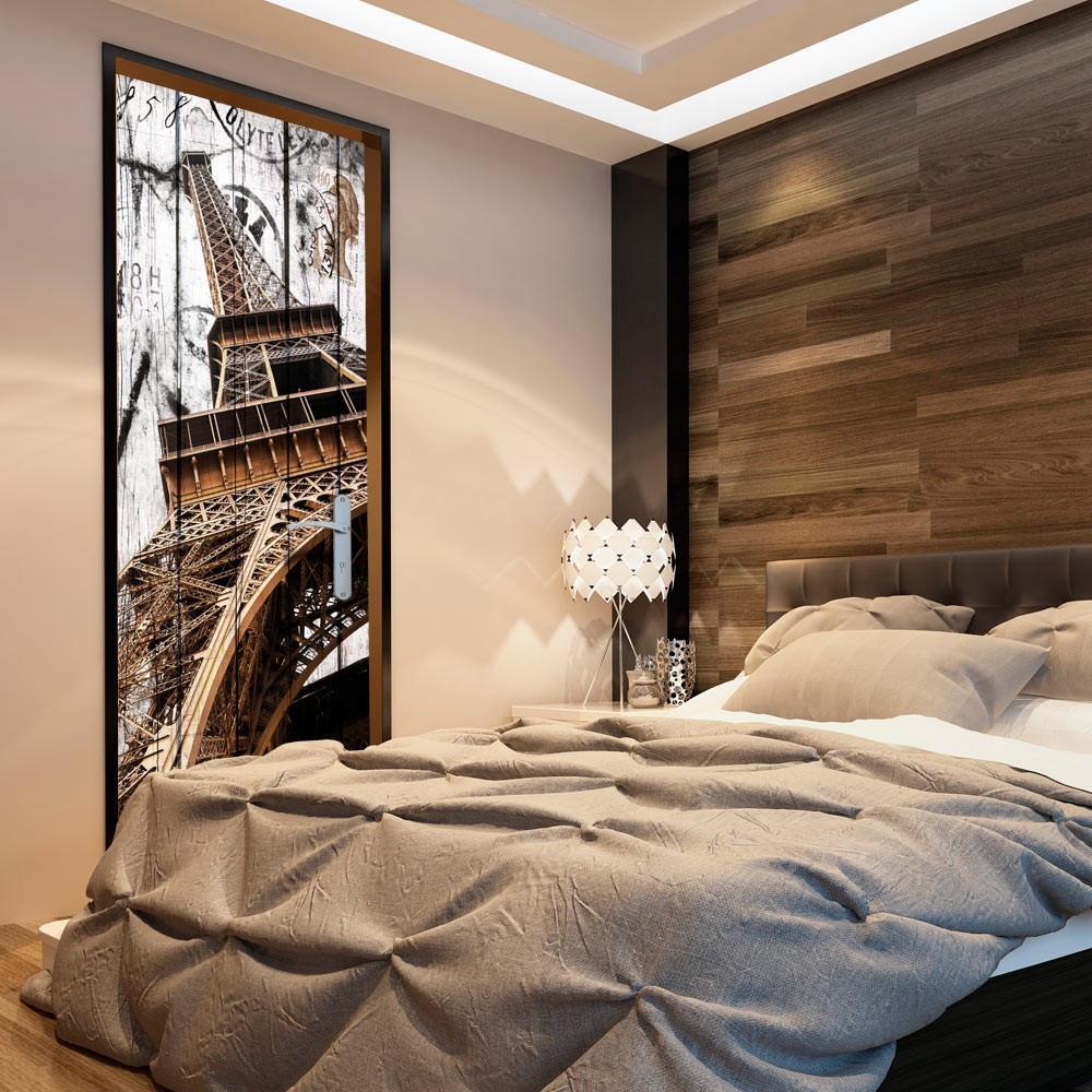 Fototapeta na drzwi - Tapeta na drzwi - Wieża Eiffla na drewnie
