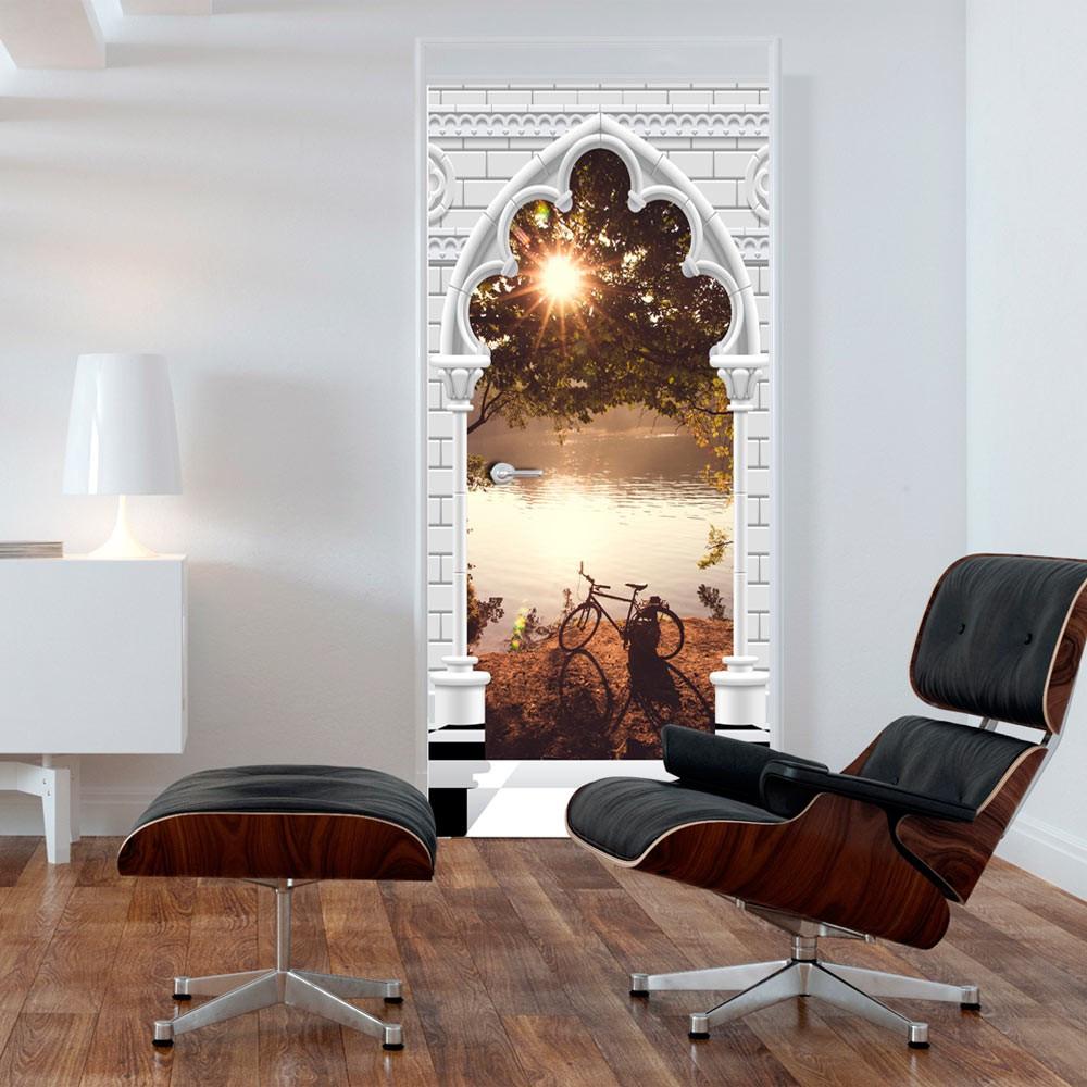 Fototapeta na drzwi - Tapeta na drzwi - Łuk gotycki i jezioro