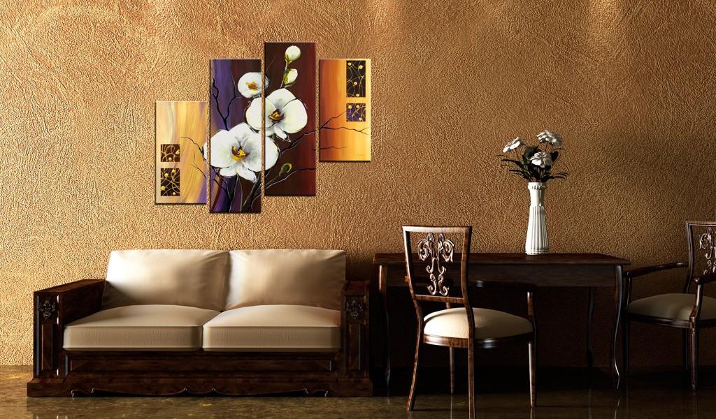 Obraz malowany - Biały storczyk