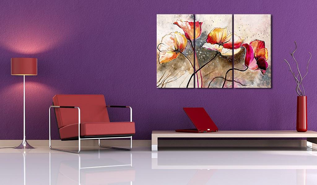 Obraz malowany - Maki smagane wiatrem
