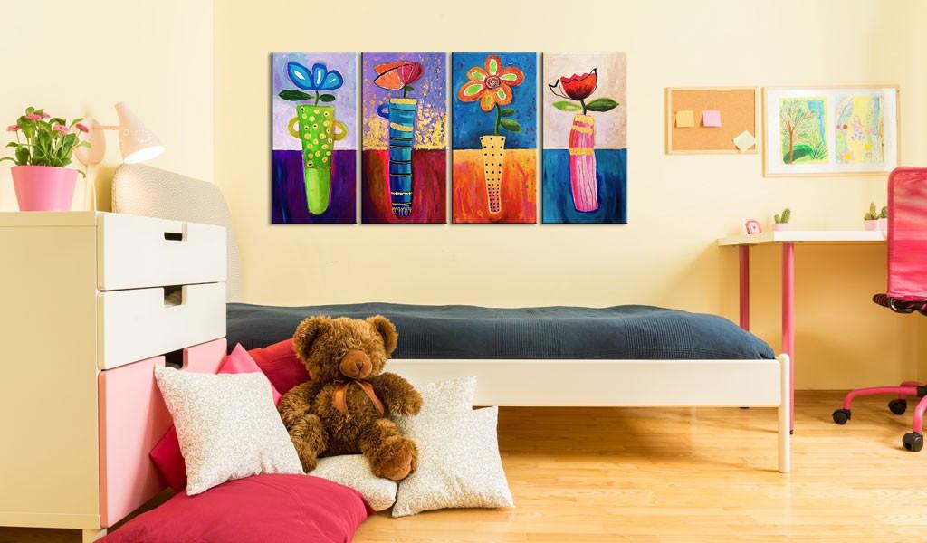 Obraz malowany - Tęczowe kwiaty