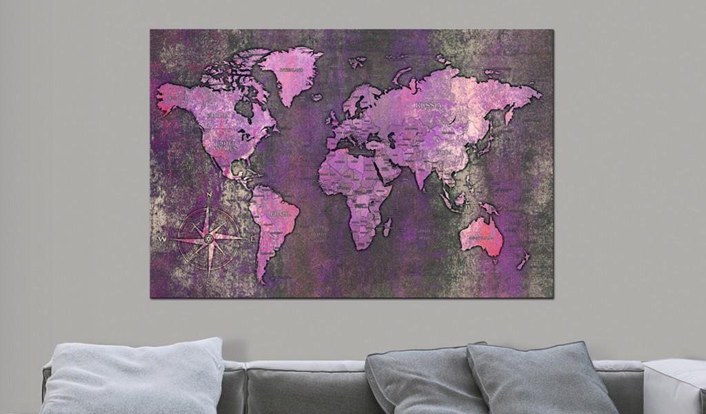 Obraz na korku - Ametystowa mapa [Mapa korkowa]