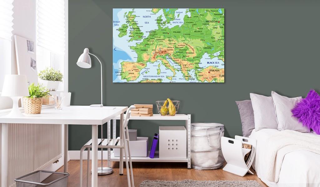 Obraz na korku - Europa [Mapa korkowa]