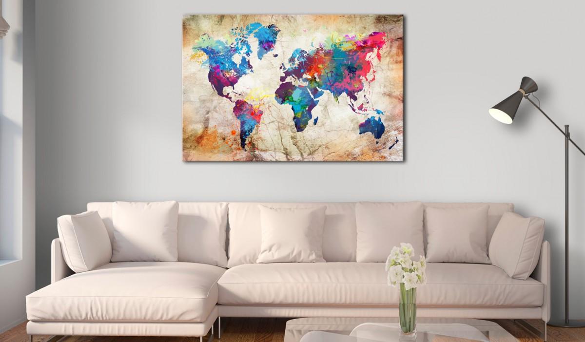 Obraz na korku - Mapa świata: Styl miejski [Mapa korkowa]