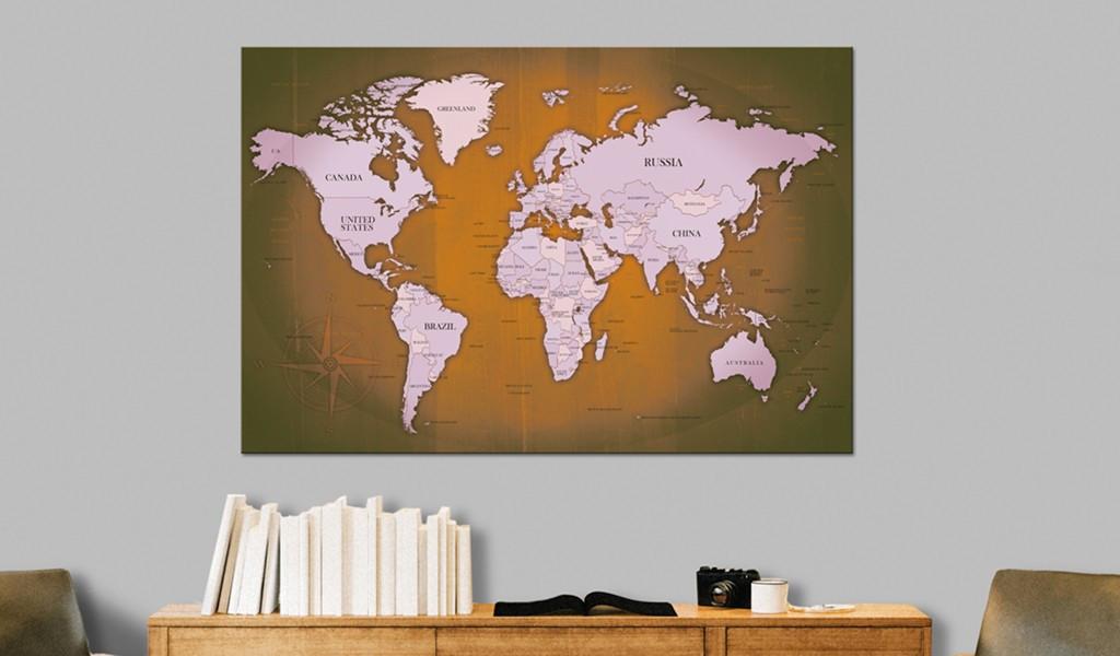 Obraz na korku - Miedziane podróże [Mapa korkowa]