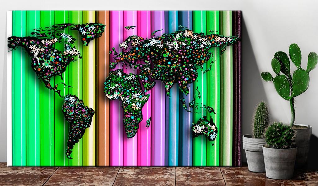 Obraz na korku - Ołówkowy świat [Mapa korkowa]