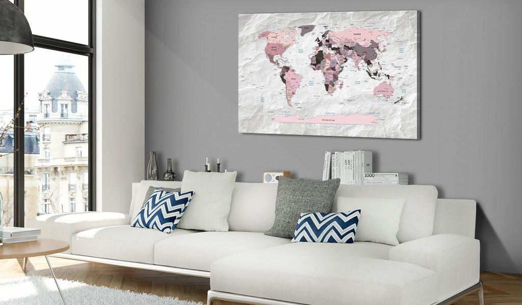 Obraz na korku - Różowe kontynenty [Mapa korkowa]