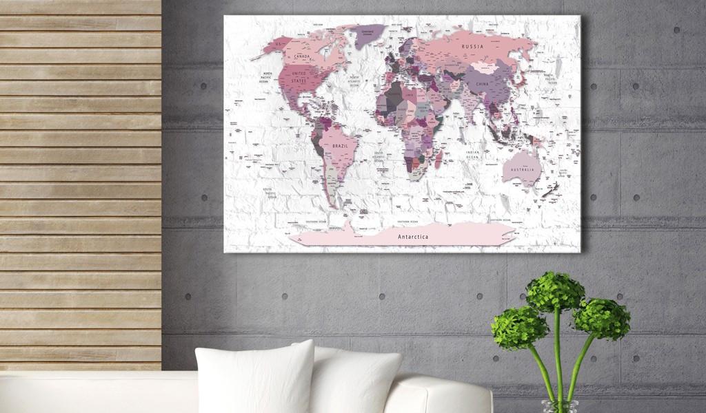 Obraz na korku - Różowe rubieże [Mapa korkowa]