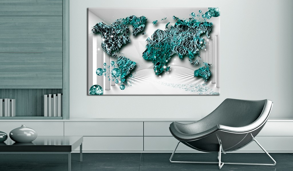 Obraz na korku - Szafirowe kontynenty [Mapa korkowa]