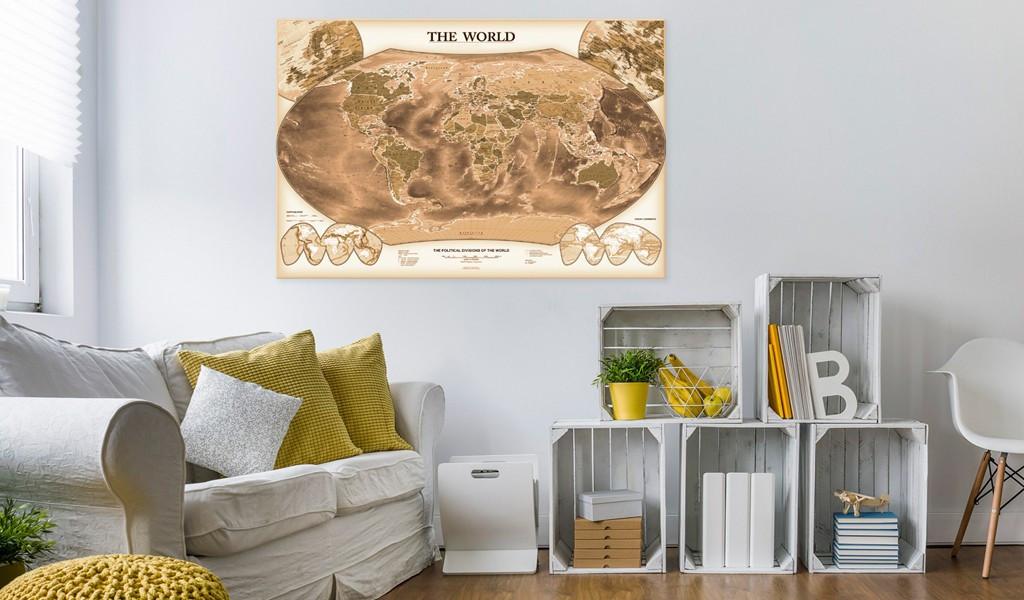 Obraz na korku - THE WORLD [Mapa korkowa]