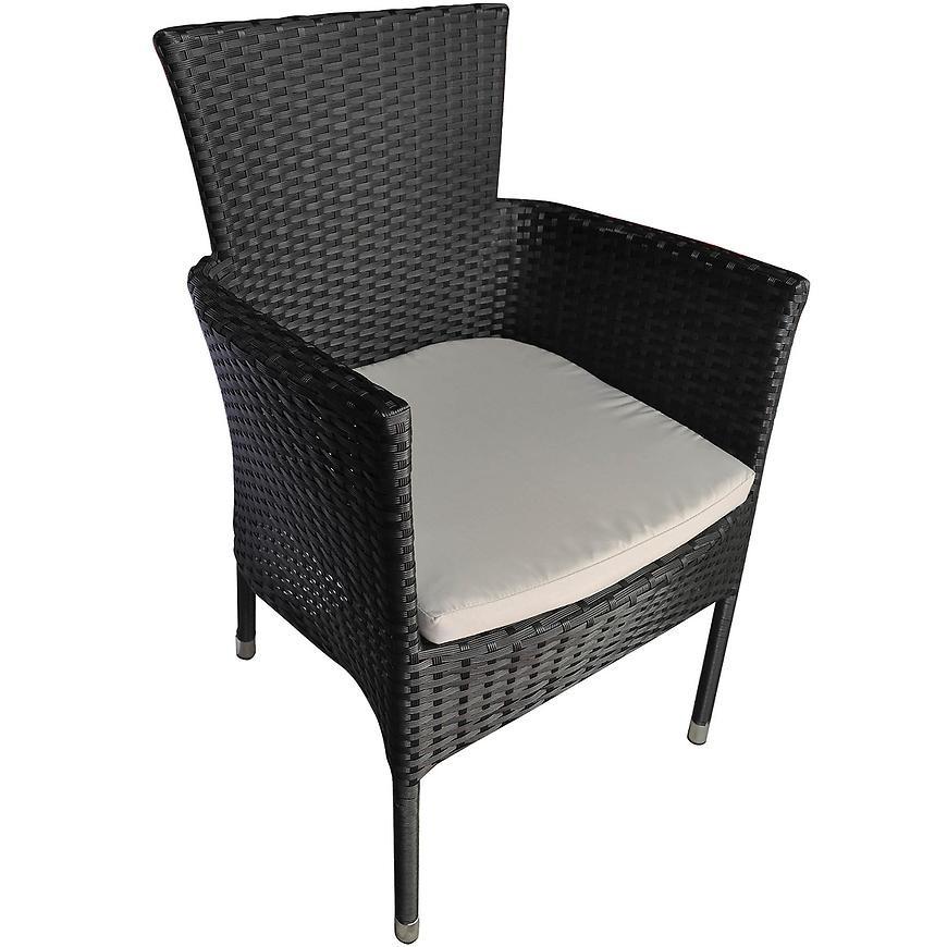 Czarne krzesło Technorattan Ce70079 z poduszką