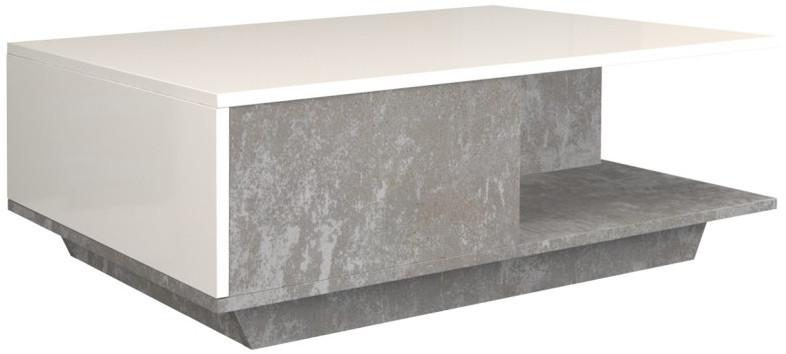 Ława Megan (beton/ biały połysk)