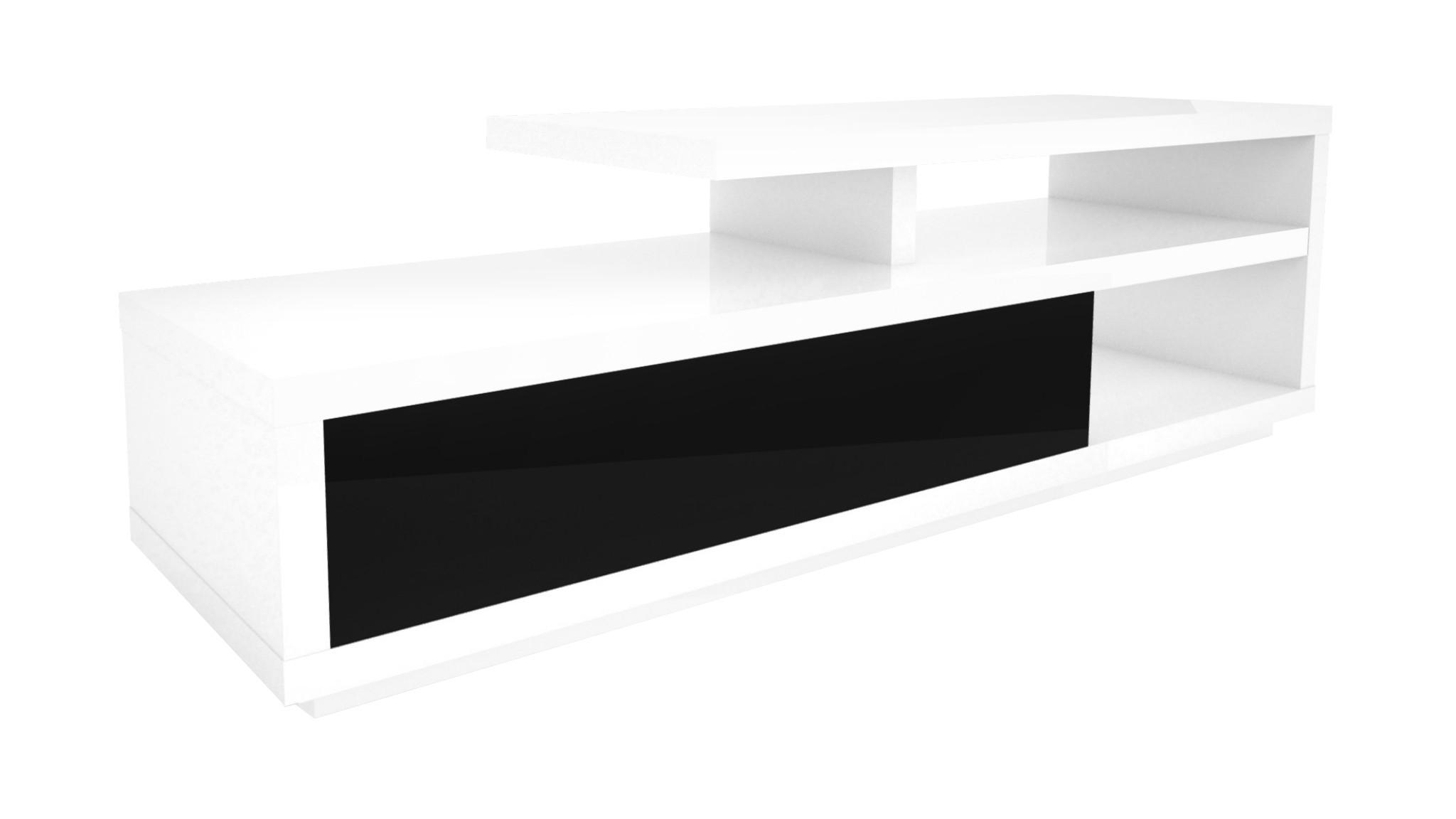 Szafka RTV Denzo biało-czarna - wysoki połysk