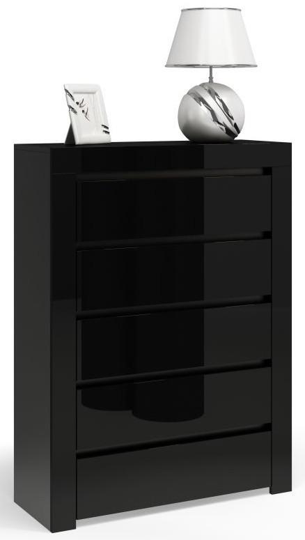 Komoda Diana P5 (czarny połysk)