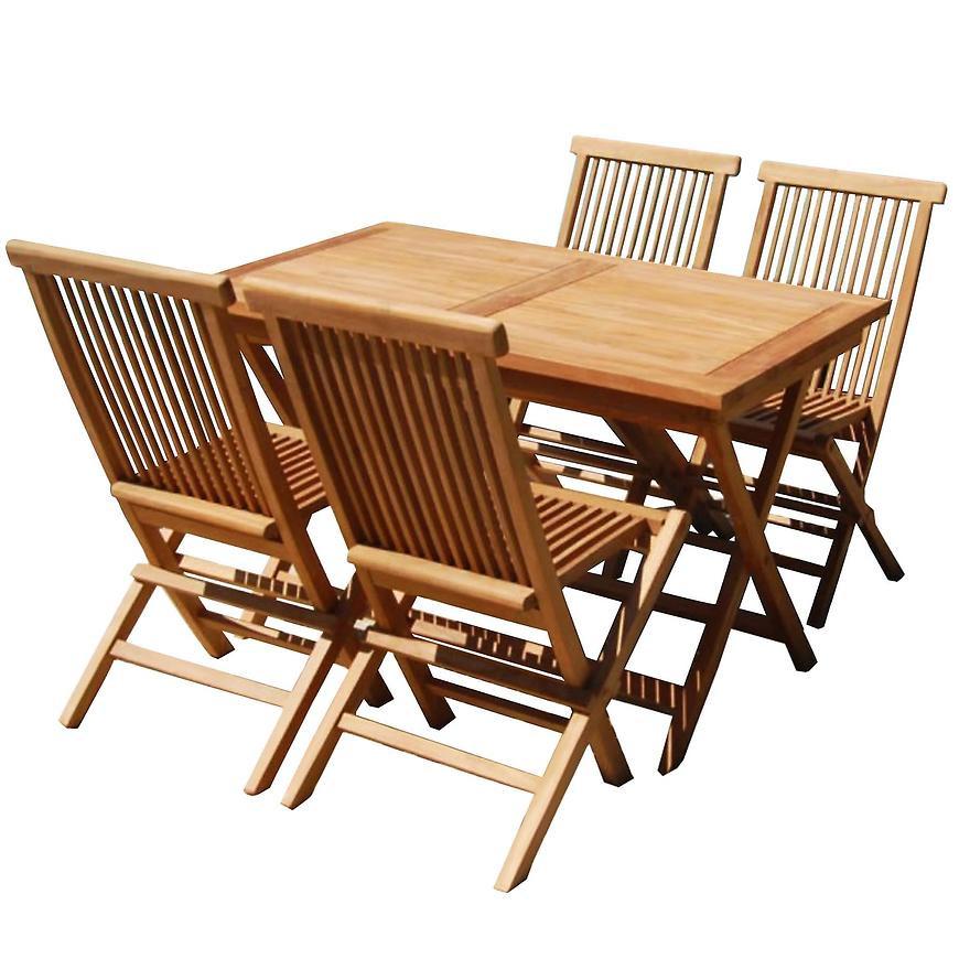 Komplet mebli drewno teakowe kwadratowy stolik+4 krzesła