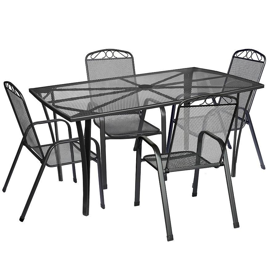 Komplet mebli metalowych prostokątny stół + 4 krzesła