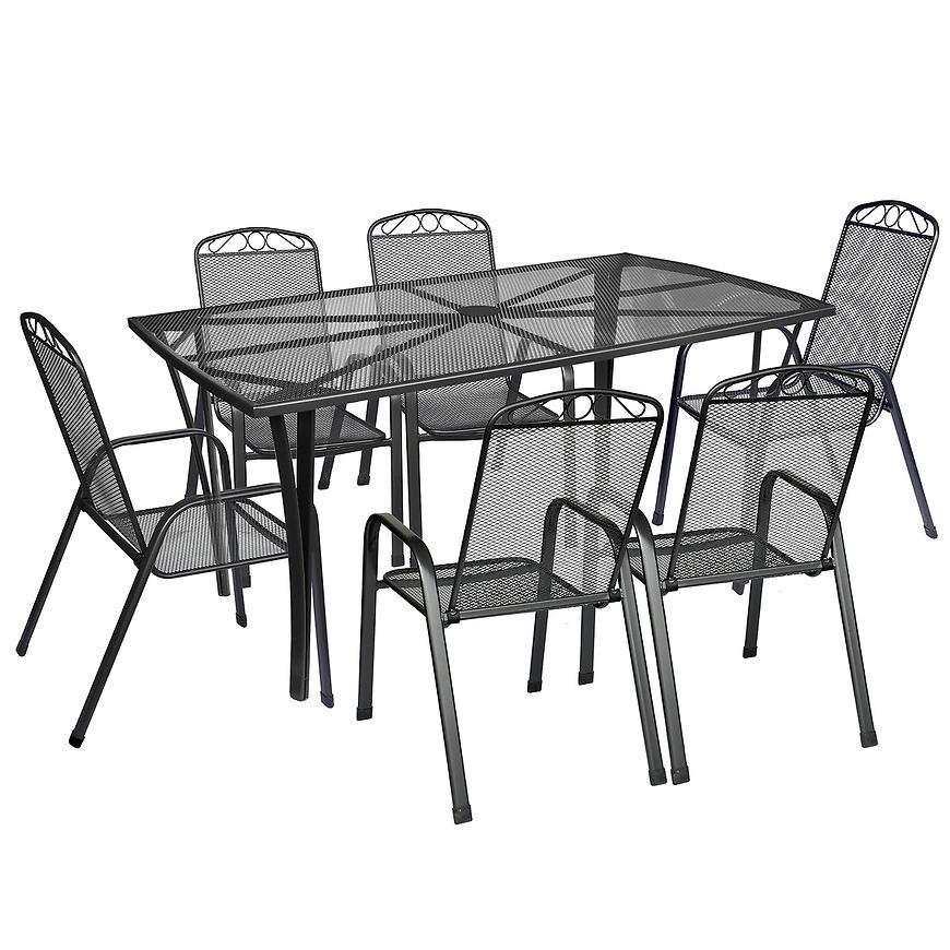 Komplet mebli metalowych prostokątny stół + 6 krzeseł
