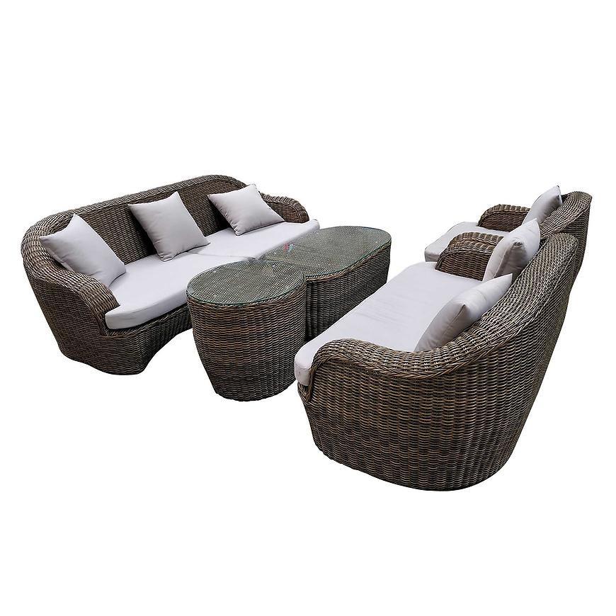 Komplet Technorattan stół, 2xsofa, fotel TG0070S