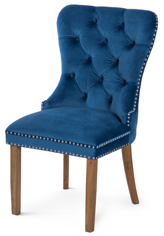 Krzesło Otello (niebieski/orzech)