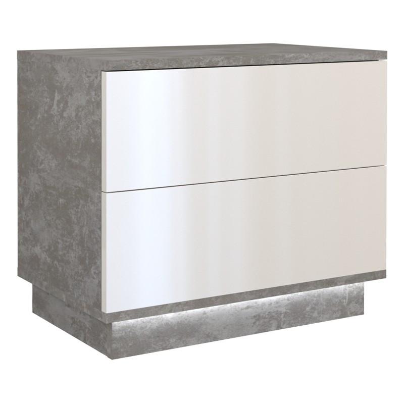 Komoda Kama P2 (beton/ biały połysk)