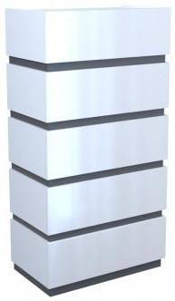 Komoda Sol P5 (biały/grafit połysk)