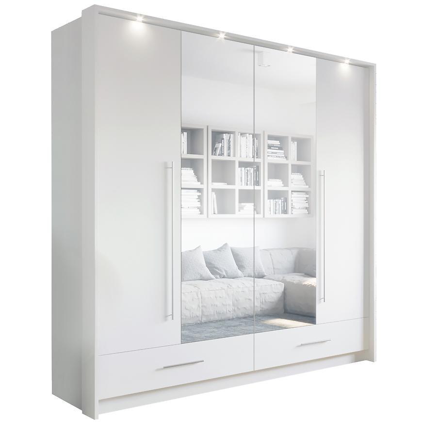 Szafa Toledo 209 cm biały/lustro