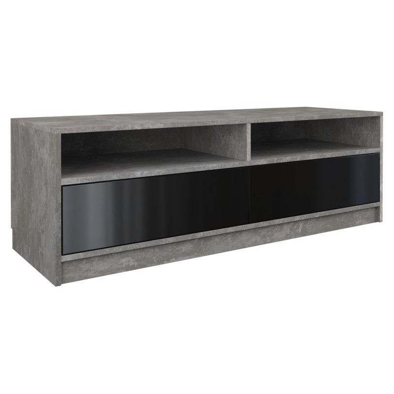 Szafka RTV Elia (beton/czarny połysk)