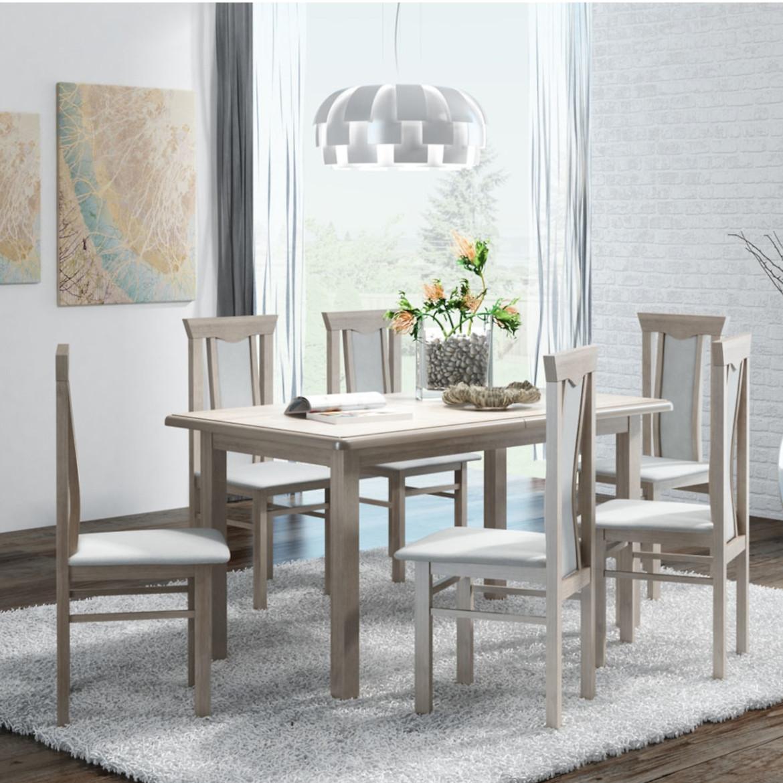 Zestaw stół i krzesła Karina 1+6,ST808 140X80+40,d.truf,KR P04,d.truf.aura-02