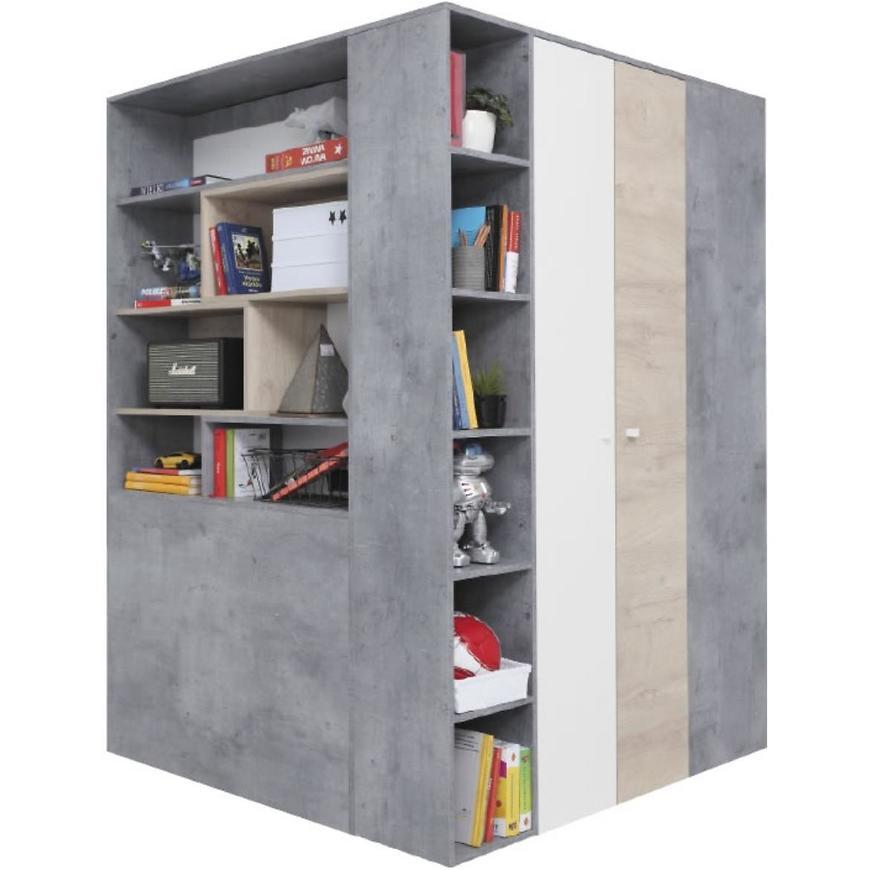 Szafa Sigma 80 SI3 beton/biały/dąb