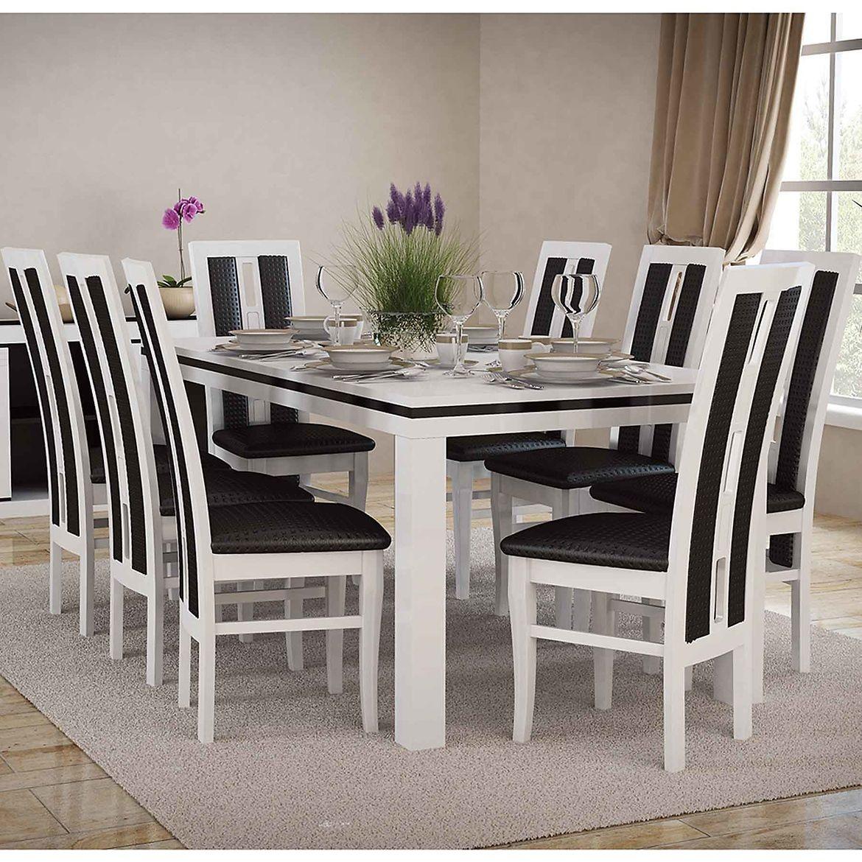 zestaw stol i krzesla gracjan 16 st400 ii kr347 bialy polysk eko czarne pik