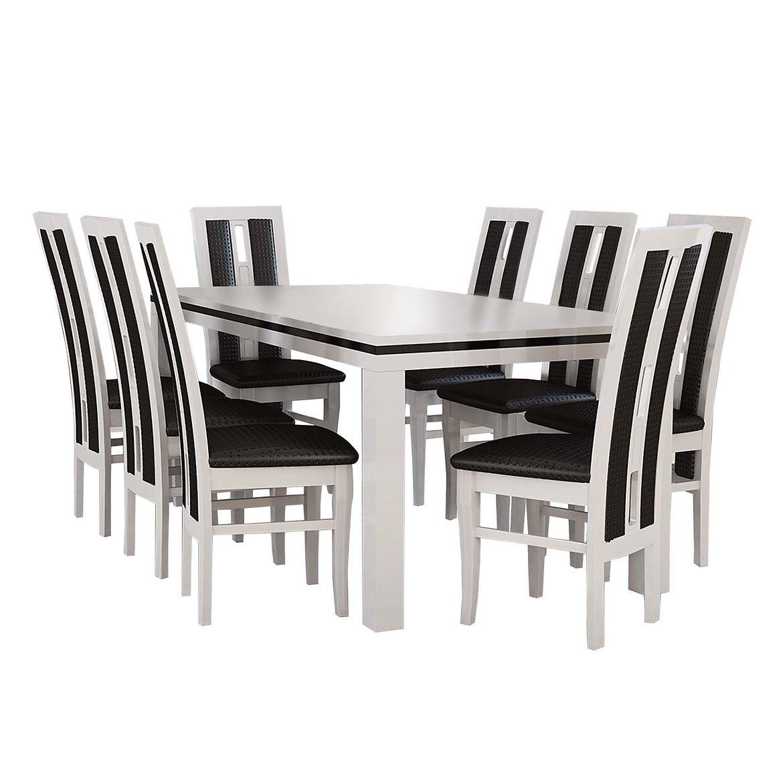 zestaw stol i krzesla gracjan 16 st400 ii kr347 bialy polysk eko czarne pik  3
